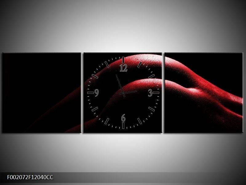 Klok schilderij Lichaam | Zwart, Rood | 120x40cm 3Luik