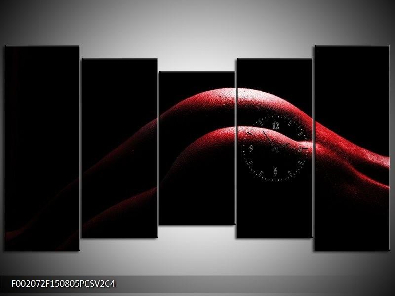Klok schilderij Lichaam | Zwart, Rood | 150x80cm 5Luik