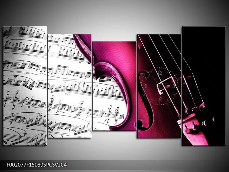 Klok schilderij Instrument | Zwart, Wit, Roze | 150x80cm 5Luik