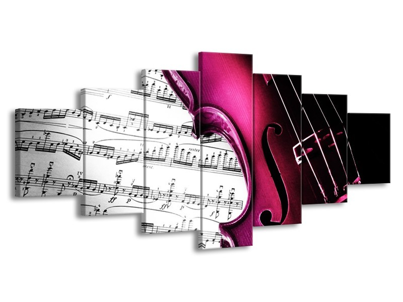 Glas schilderij Instrument | Zwart, Wit, Roze | 210x100cm 7Luik