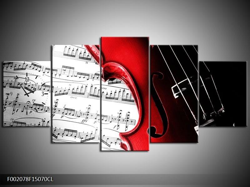 Klok schilderij Instrument | Zwart, Wit, Rood | 150x70cm 5Luik