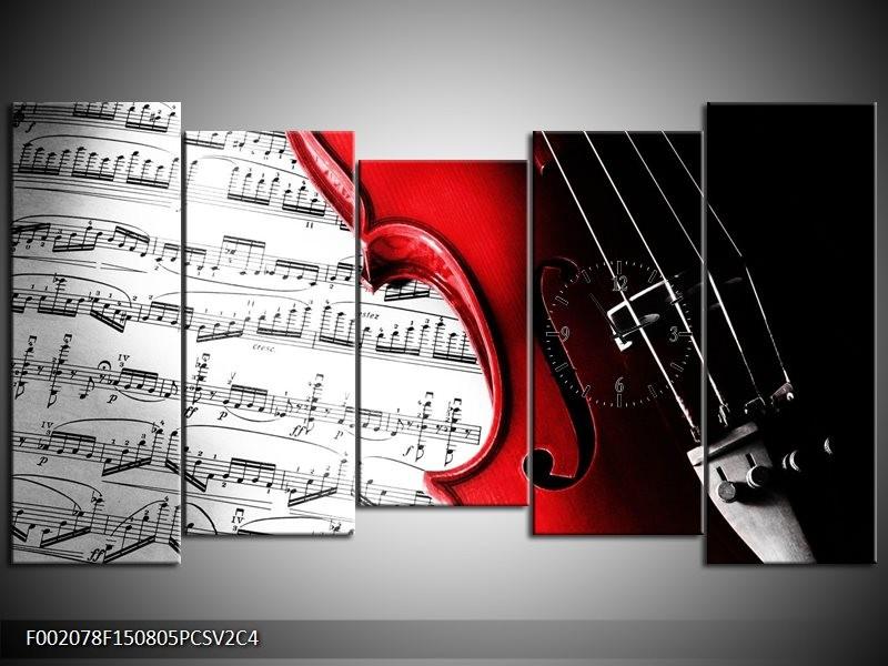 Klok schilderij Instrument | Zwart, Wit, Rood | 150x80cm 5Luik