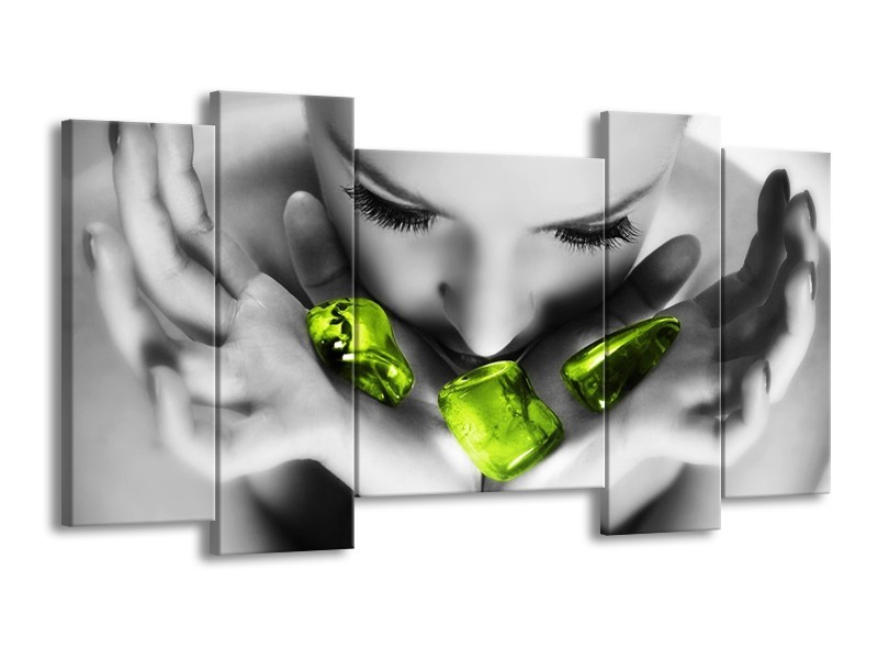 Canvas schilderij Gezicht | Zwart, Grijs, Groen | 120x65 5Luik