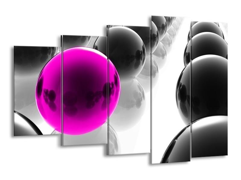 Canvas schilderij Ballen   Grijs, Roze   150x100cm 5Luik