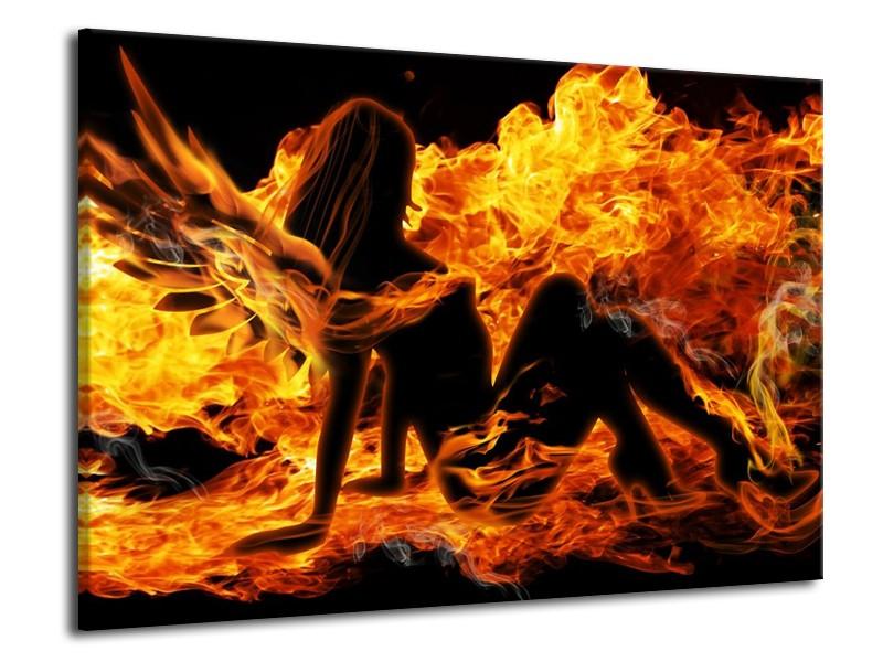 Glas schilderij Vrouw   Zwart, Oranje, Geel   70x50cm 1Luik