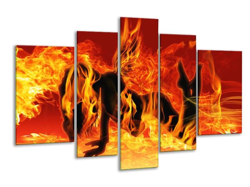 Glas schilderij Vrouw   Zwart, Oranje, Geel   170x100cm 5Luik