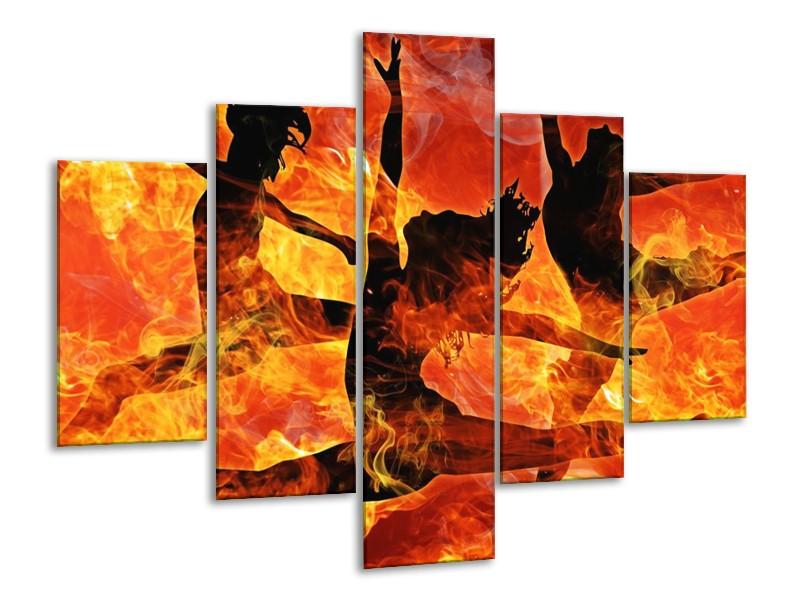 Canvas schilderij Dansen | Zwart, Oranje, Geel | 100x70cm 5Luik
