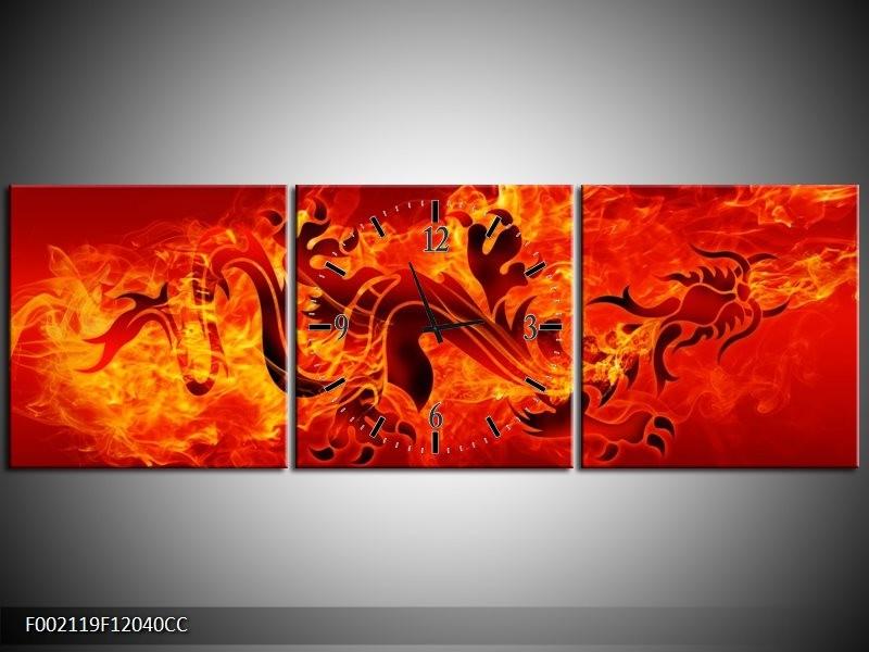Klok schilderij Draak   Zwart, Oranje, Geel   120x40cm 3Luik