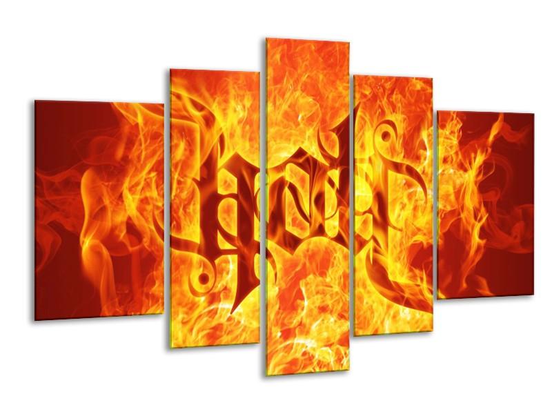 Glas schilderij Vuur   Zwart, Oranje, Geel   170x100cm 5Luik