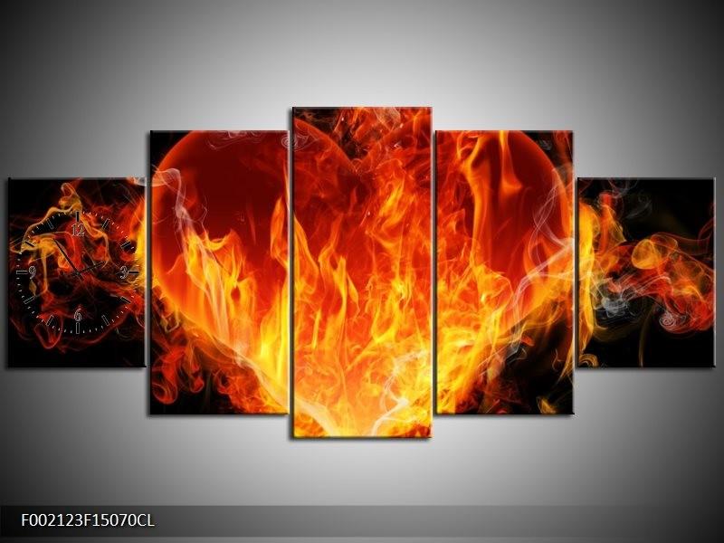 Klok schilderij Hart   Zwart, Oranje, Geel   150x70cm 5Luik