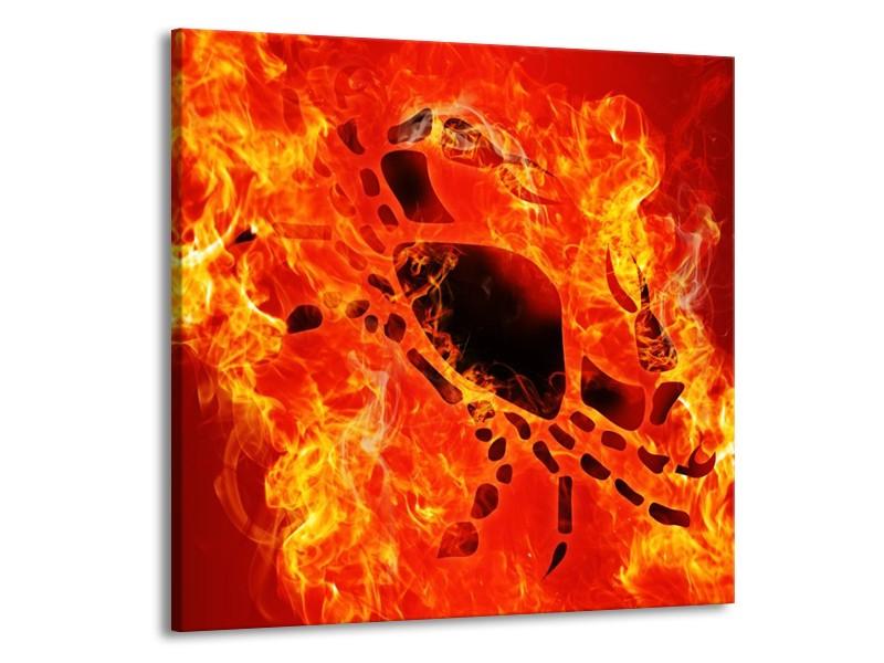 Glas schilderij Vuur   Zwart, Oranje, Geel   70x70cm 1Luik