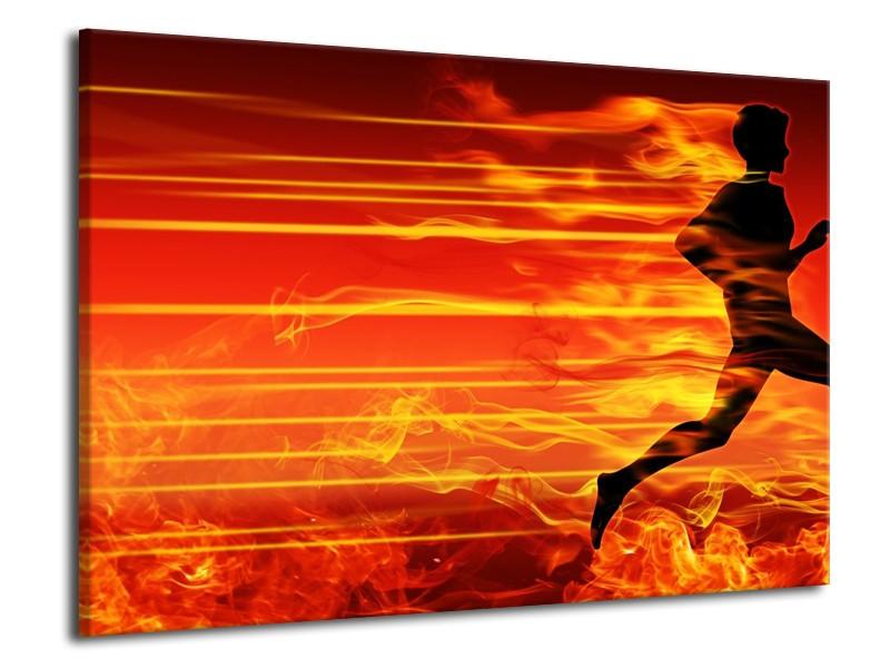 Canvas schilderij Vuur | Zwart, Oranje, Geel | 70x50cm 1Luik