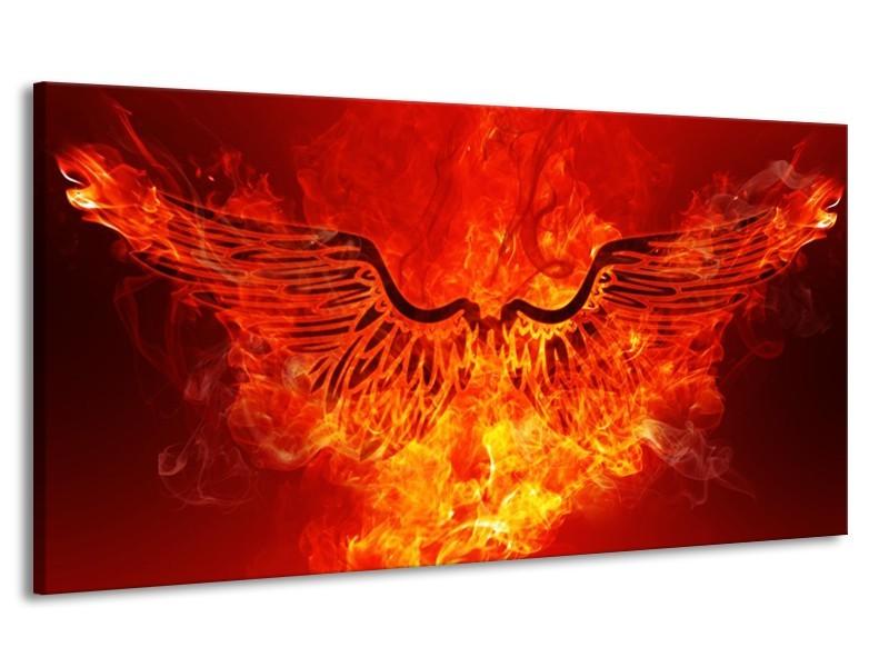 Canvas schilderij Vuur | Zwart, Oranje, Geel | 170x90cm 1Luik