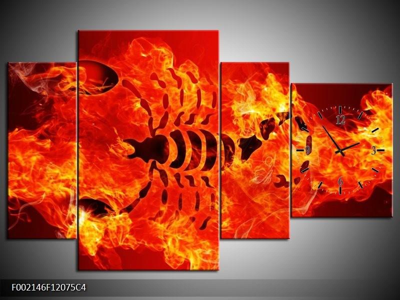 Klok schilderij Vuur   Zwart, Oranje, Geel   120x75cm 4Luik