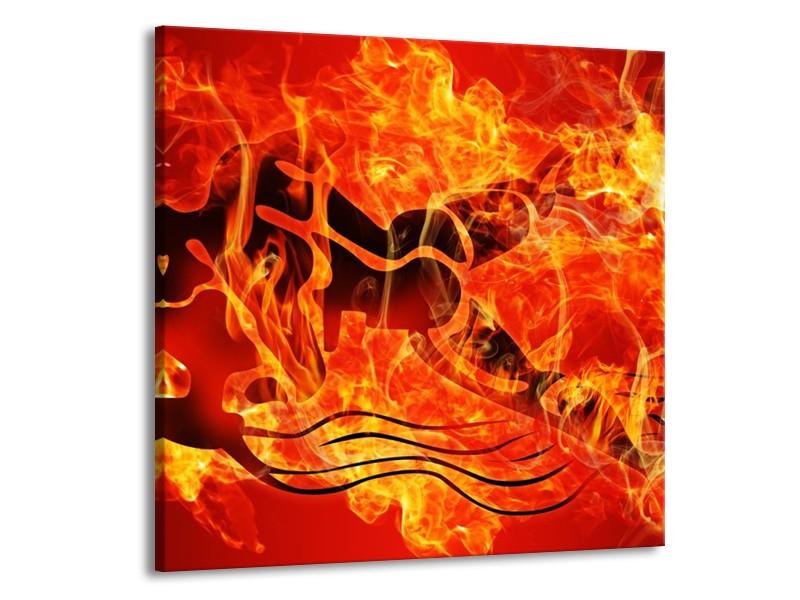 Canvas schilderij Vuur | Zwart, Oranje, Geel | 70x70cm 1Luik