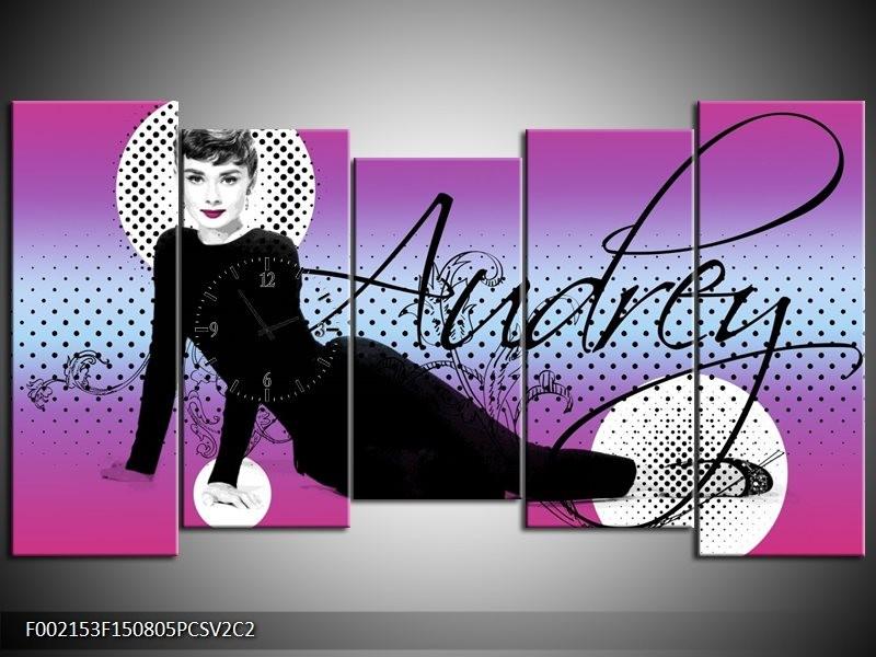 Klok schilderij Audrey | Zwart, Wit, Paars | 150x80cm 5Luik