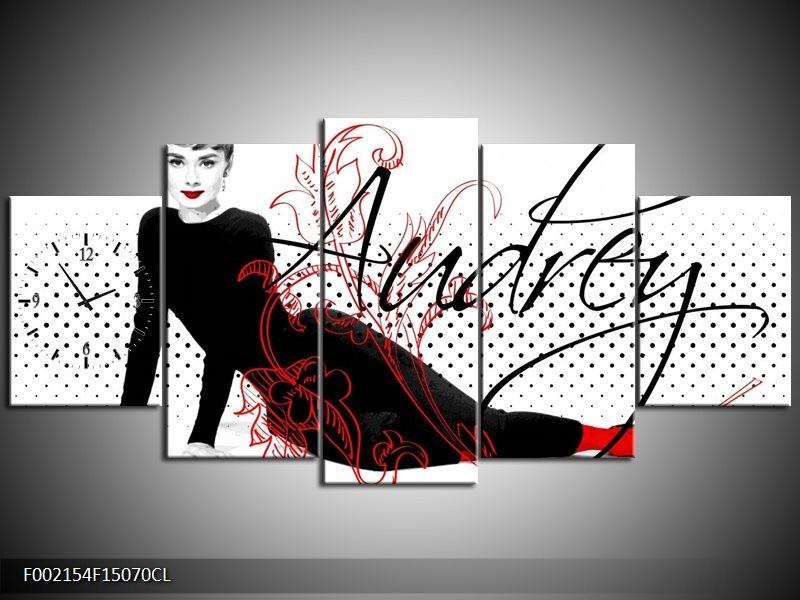 Klok schilderij Audrey | Zwart, Wit, Rood | 150x70cm 5Luik