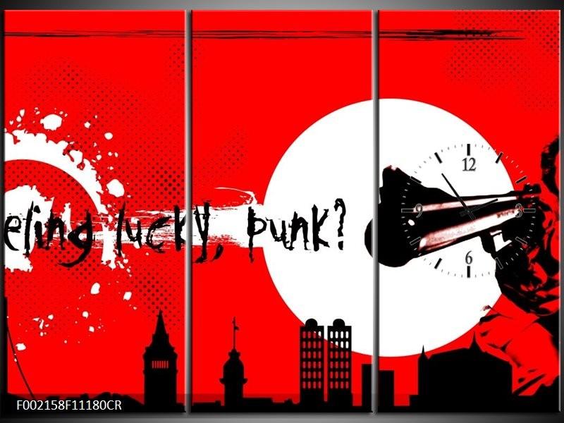 Klok schilderij Abstract | Zwart, Wit, Rood | 111x80cm 3Luik