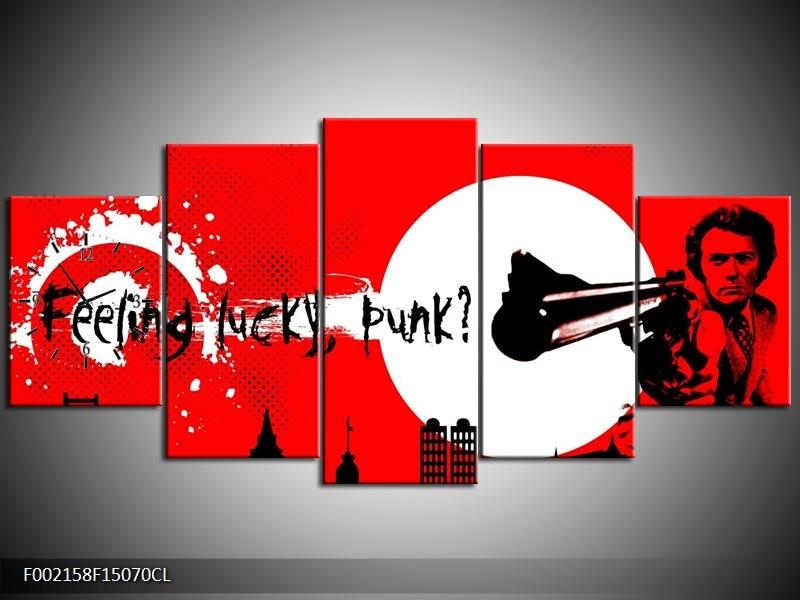 Klok schilderij Abstract | Zwart, Wit, Rood | 150x70cm 5Luik