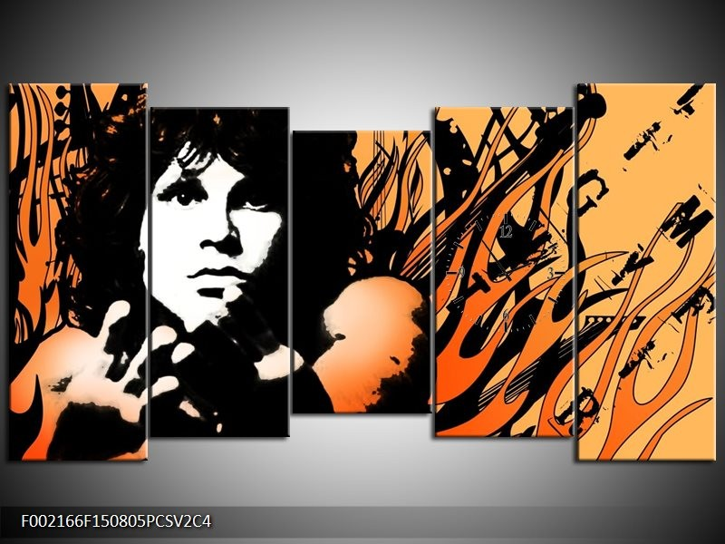 Klok schilderij Muziek | Zwart, Wit, Oranje | 150x80cm 5Luik