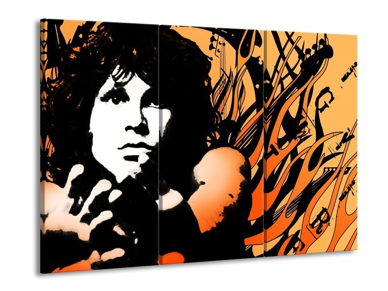 Glas schilderij Muziek | Zwart, Wit, Oranje | 90x60cm 3Luik