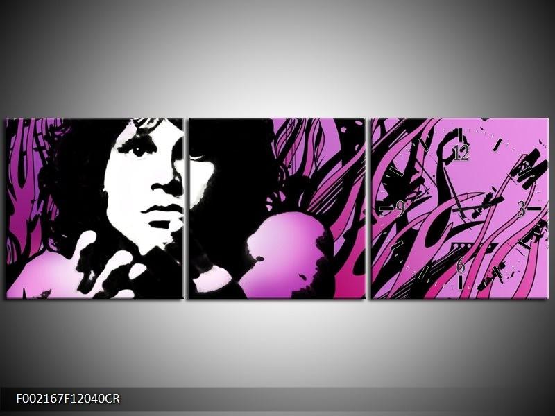 Klok schilderij Muziek | Zwart, Wit, Paars | 120x40cm 3Luik