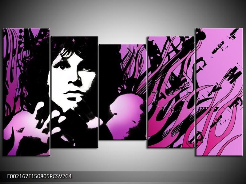Klok schilderij Muziek | Zwart, Wit, Paars | 150x80cm 5Luik