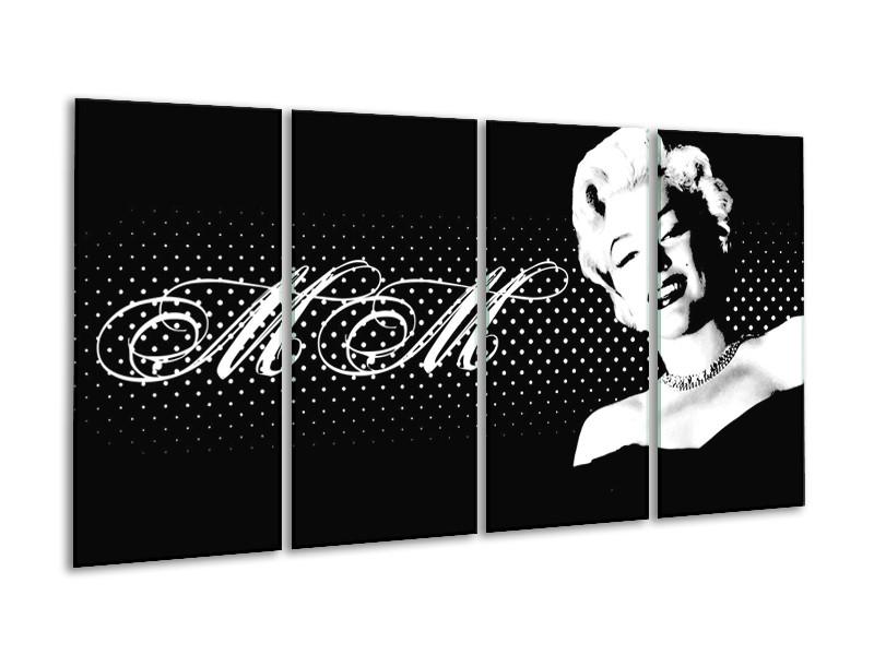 Glas schilderij Muziek | Zwart, Wit, Grijs | 160x80cm 4Luik