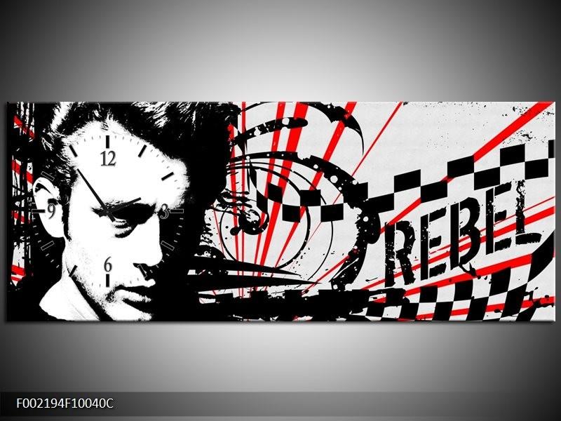 Klok schilderij Popart | Zwart, Wit, Rood | 100x40cm 1Luik