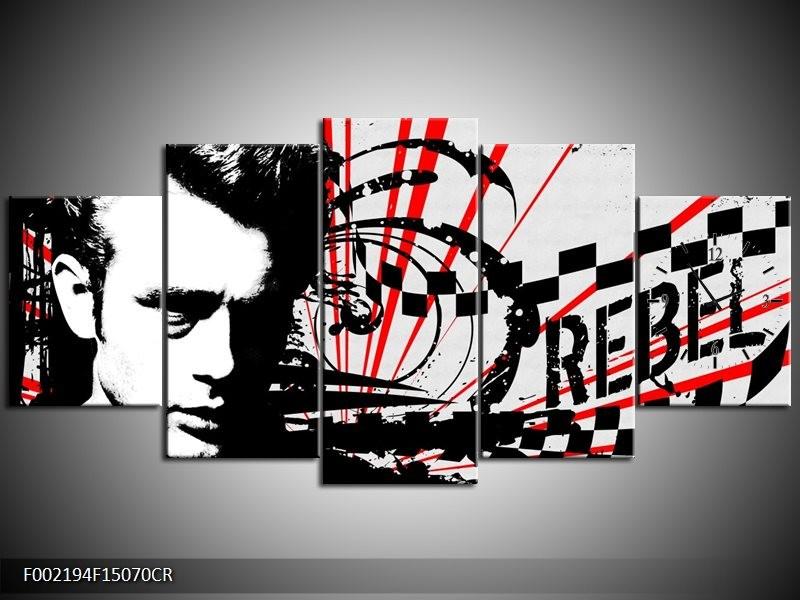 Klok schilderij Popart | Zwart, Wit, Rood | 150x70cm 5Luik