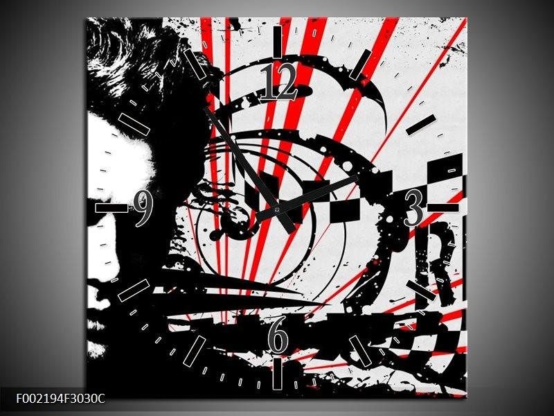 Klok schilderij Popart | Zwart, Wit, Rood | 30x30cm 1Luik