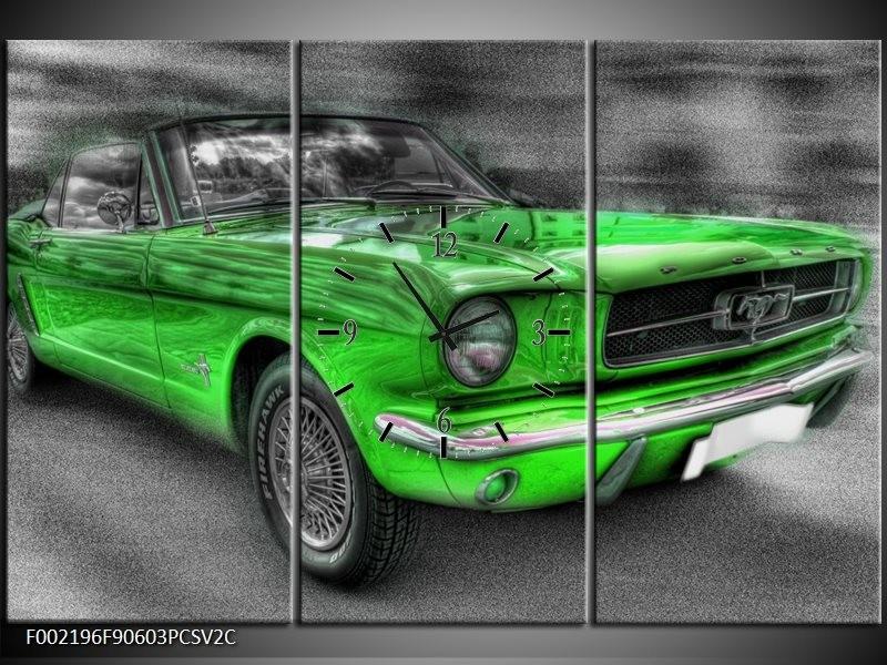 Klok schilderij Ford   Grijs, Groen   90x60cm 3Luik