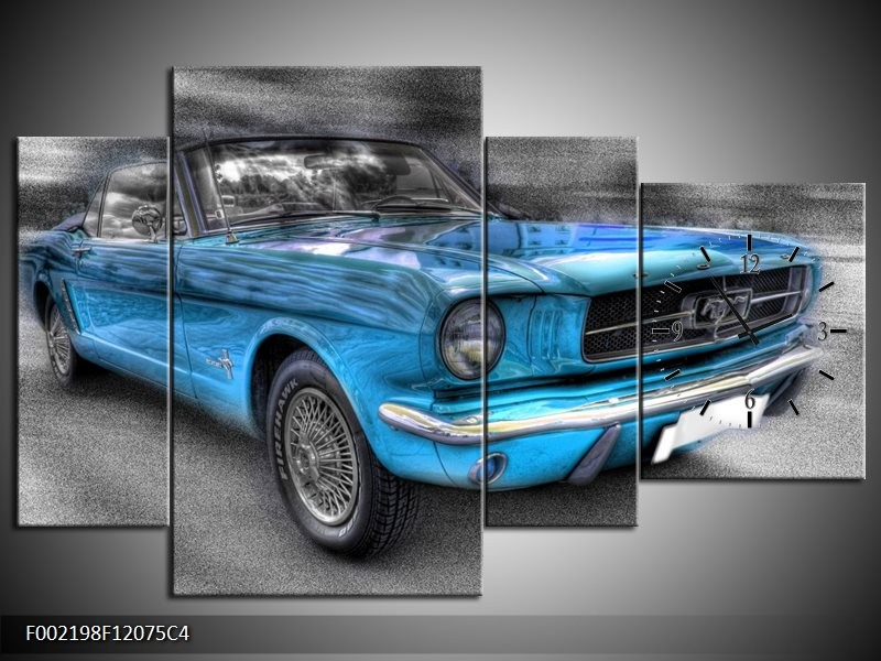 Klok schilderij Mustang   Zwart, Grijs, Blauw   120x75cm 4Luik