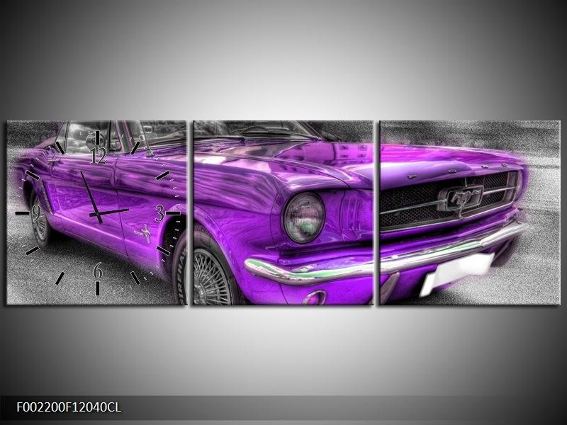 Klok schilderij Mustang   Zwart, Grijs, Paars   120x40cm 3Luik