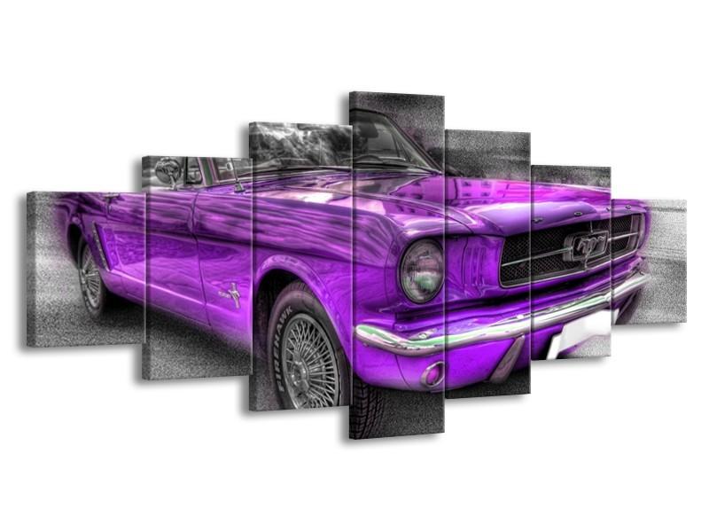 Glas schilderij Mustang   Zwart, Grijs, Paars   210x100cm 7Luik