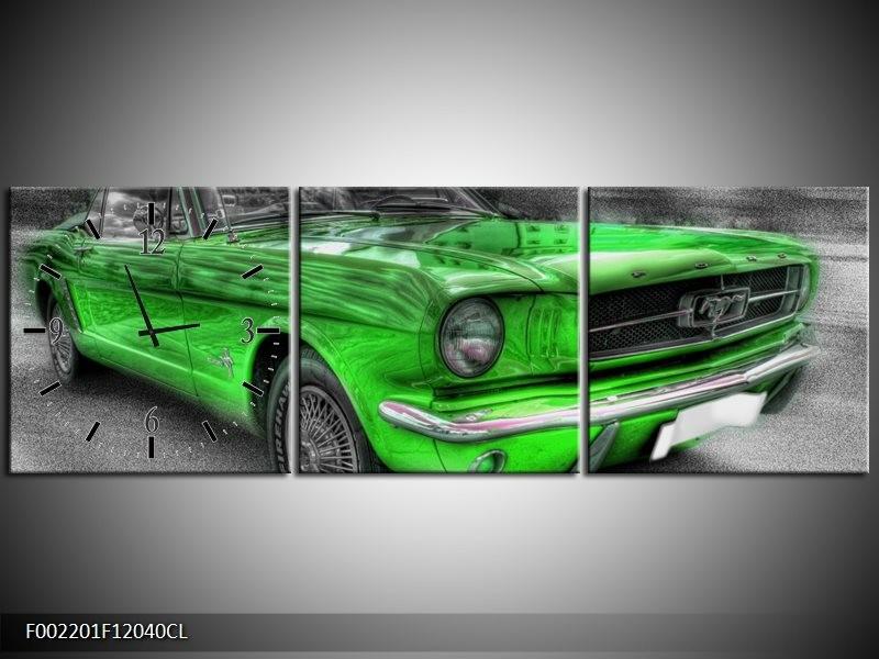 Klok schilderij Mustang   Zwart, Grijs, Groen   120x40cm 3Luik