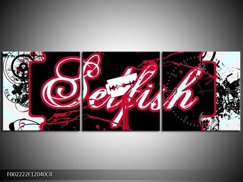 Klok schilderij Popart | Zwart, Wit, Rood | 120x40cm 3Luik