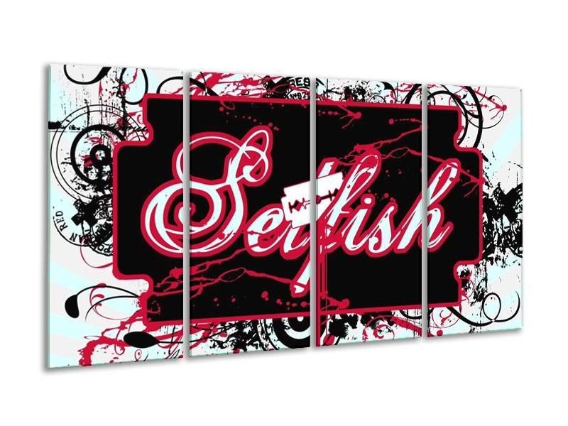Glas schilderij Popart | Zwart, Wit, Rood | 160x80cm 4Luik