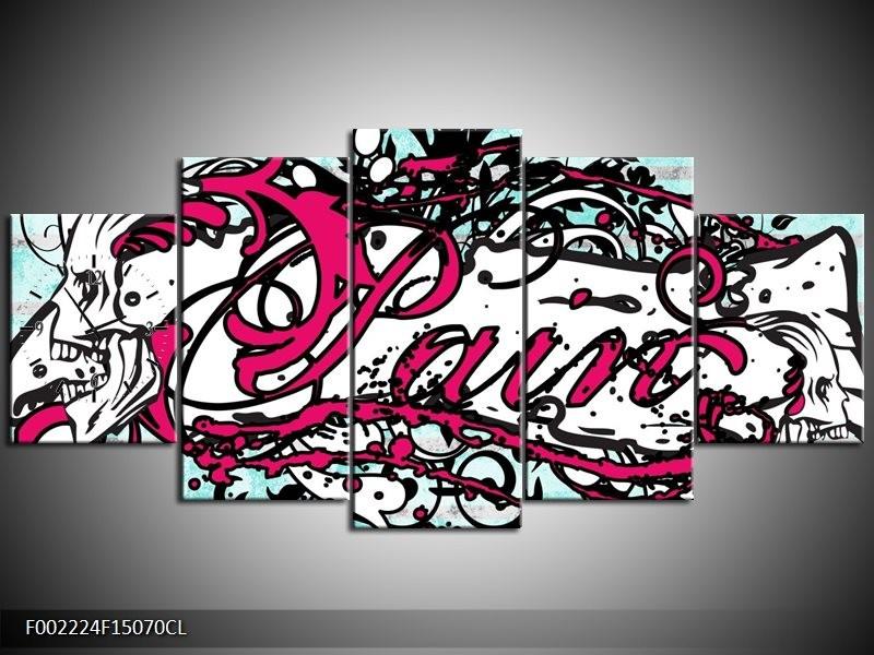 Klok schilderij Popart | Zwart, Wit, Roze | 150x70cm 5Luik