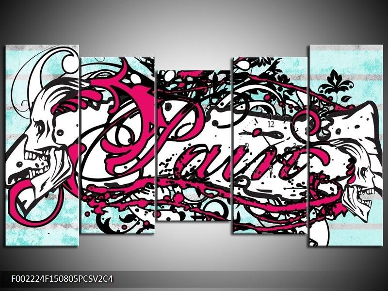 Klok schilderij Popart | Zwart, Wit, Roze | 150x80cm 5Luik