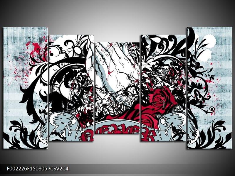 Klok schilderij Popart | Zwart, Wit, Rood | 150x80cm 5Luik