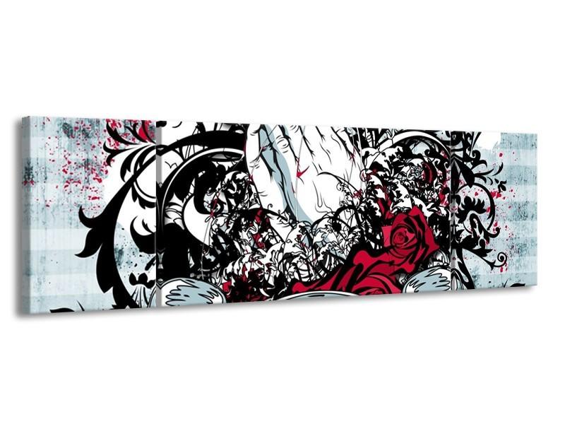 Glas schilderij Popart | Zwart, Wit, Rood | 170x50cm 3Luik