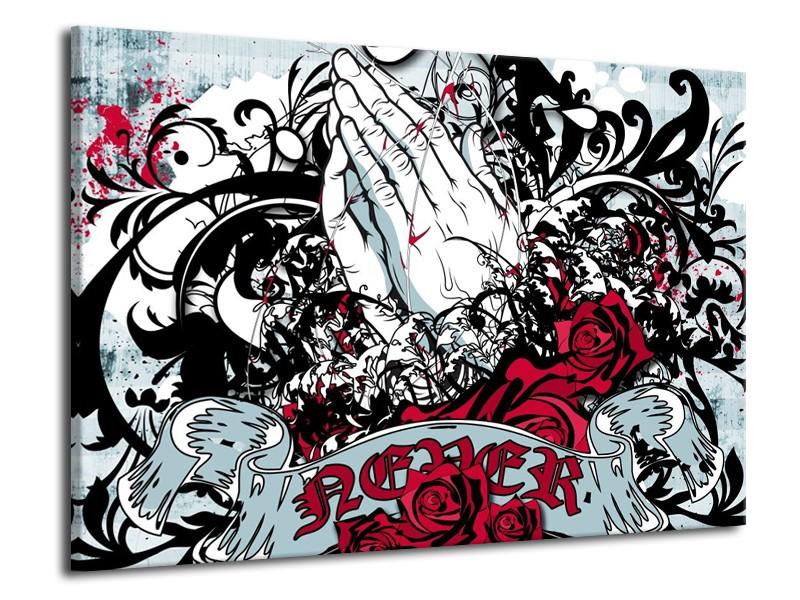 Canvas schilderij Popart | Zwart, Wit, Rood | 70x50cm 1Luik