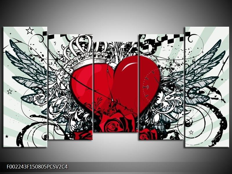 Klok schilderij Hart | Zwart, Rood, Wit | 150x80cm 5Luik