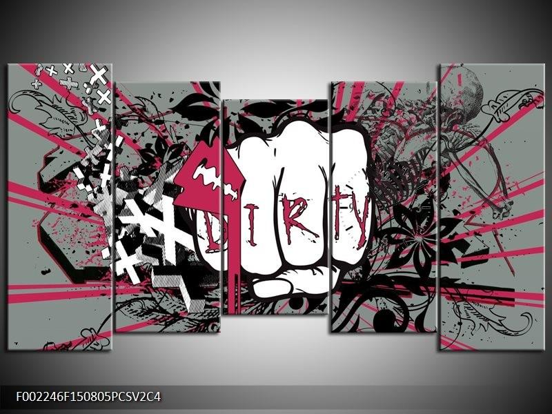 Klok schilderij Popart | Zwart, Roze, Wit | 150x80cm 5Luik