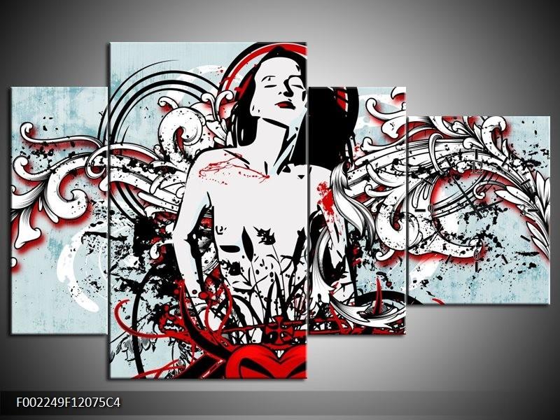 Klok schilderij Popart | Zwart, Rood, Wit | 120x75cm 4Luik