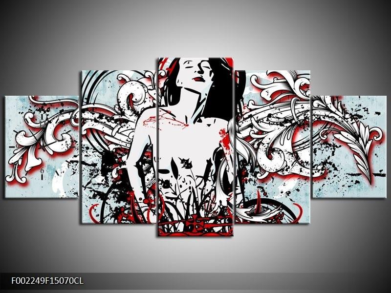 Klok schilderij Popart | Zwart, Rood, Wit | 150x70cm 5Luik