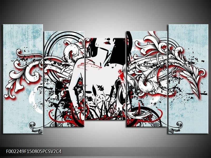 Klok schilderij Popart | Zwart, Rood, Wit | 150x80cm 5Luik