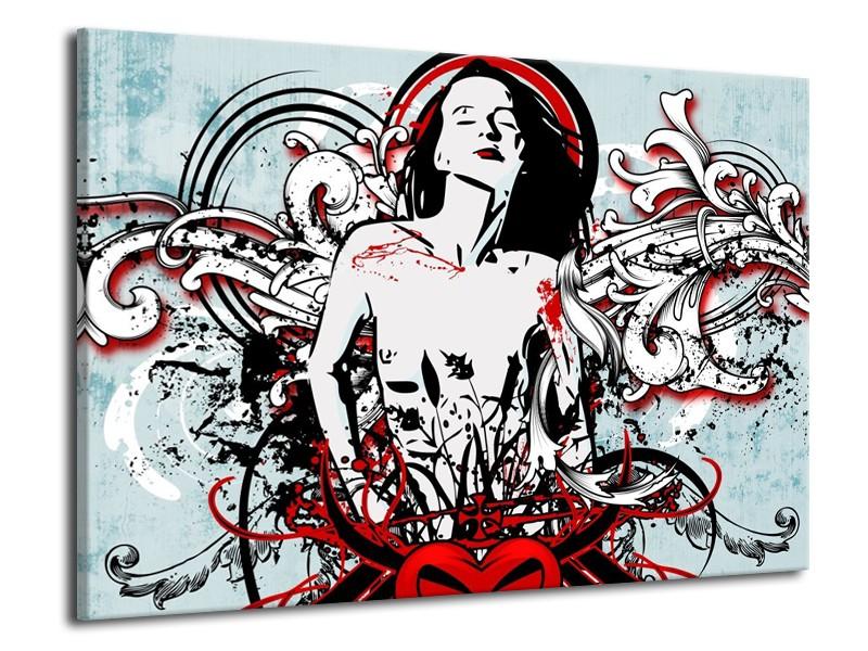 Glas schilderij Popart | Zwart, Rood, Wit | 70x50cm 1Luik