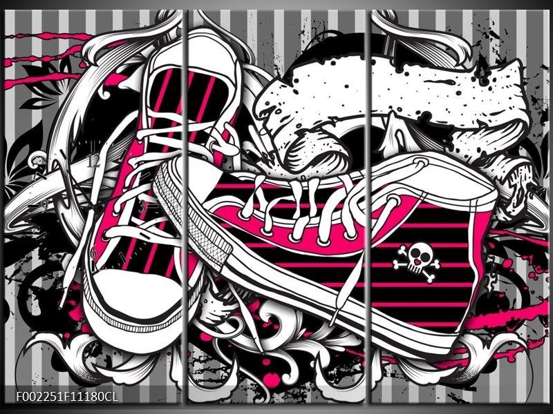 Klok schilderij Popart | Zwart, Roze, Wit | 111x80cm 3Luik